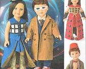 "Simplicity 8111 Doll Clothes 18"" Doctor Who Outfit Tardis Dress Sewing Pattern NEW"