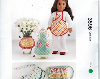 """Kwik Sew 3596 Mini Aprons for 18"""" American Girl Dolls or Vase Dolls Sewing Pattern NEW"""