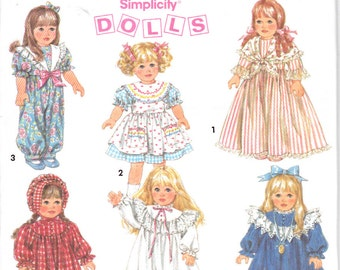 "Simplicity 8211 Doll Clothes Wardrobe 18"" 45.5 CM Dress Nightgown Pantaloon Boots Sewing Pattern Out of Print"
