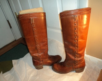 Vintage Dexter Campus Style Brown Leather Boots Size 6.5