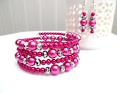 Hot Pink Wrap Bracelet with Pearls and Crystals, Pink Beaded Bracelet, Plus Size Bracelet, Chunky Bracelet, One Size Jewelry, Gift For Her