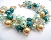Teal Beaded Bracelet, Mint Green and Gold Wedding Jewelry, Pearl Bridesmaid Bracelet, Cluster Bracelet, Pearl Bracelet, Teal Wedding Theme