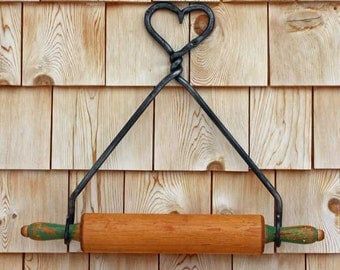 Rolling Pin Holder heart on top blacksmith made kitchen storage free shipping