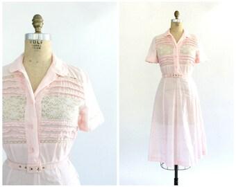 40s ricki reeve dress | vintage 1940s pale pink lace bodice dress | vtg cotton dress | small