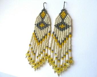 Native American Style, Indian Beaded Earrings, Seed Bead Earrings, Dangle Earrings, Fringe Earrings, Yellow, Cream, Gray, Crystal Earrings
