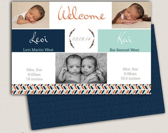 Twin Birth Announcement/Boy Twin Announcement/Photo Twin Birth Announcement/Birth Announcement and Background/Print yourself design