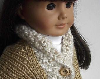 "18 Inch Doll Clothes Knit Cardigan Sweater in Tan with Natural Homespun Collar Handmade to fit the American Girl and Similar 18"" Dolls"