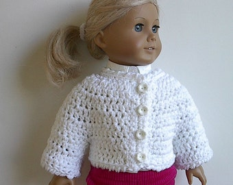 18 Inch Doll Clothes Sweater Jacket Crocheted in White Cotton Yarn Handmade to Fit the American Girl and other 18 Inch Dolls