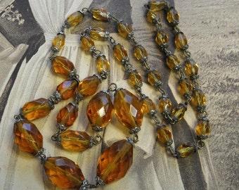 Antique Necklace Deco Topaz Yellow Glass Beads Bead Caps
