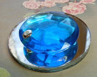 Vintage Faceted Glass Pendant Blue