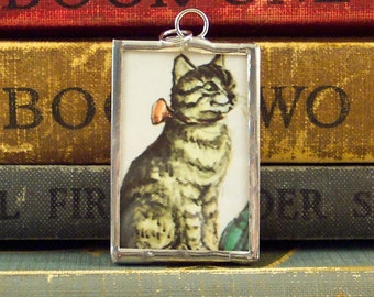 Tasha Tudor Tabby Cat Pendant - Tasha Tudor Book Vintage Illustration - Kitty Cat Pendant - Tasha Tudor Jewelry - Grey Tabby Kitten Charm