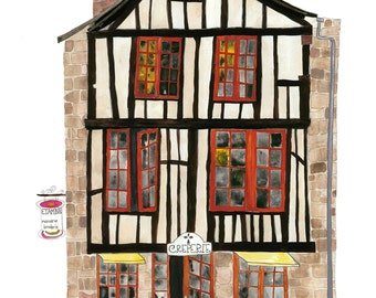 Creperie, Dinan, France, Brittany, Print of my original painting, French Creperie