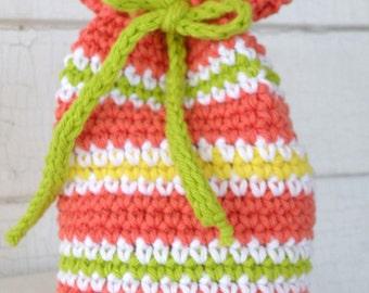 Citrus Orange Yellow Lime Multicolor Striped Cotton Gift Bag Wristlet Purse Cosmetics Bag