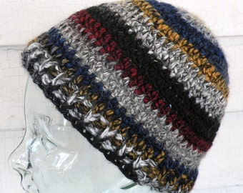 Men's Teen Small Unisex Striped Black Gray Red Yellow Blue Winter Beanie Hat