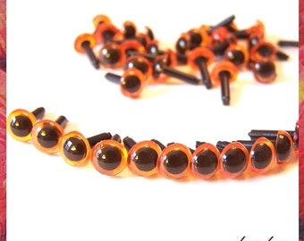 6 mm Amber translucent orange Amigurumi / Animal / Plastic Safety eyes - 10PAIRS