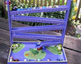 Marble Roller, Frog Marble Run, Marbles, Handmade, Purple, Frogs, Hand Painted