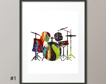 Fine Art Print Colorful Drums Microphone Music Instrumental Acrylic Painting Abstract Contemporary Modern Elena