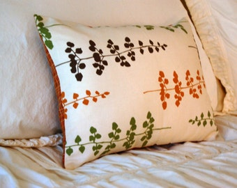 Willow Botanical Fall Cushion / modern lumbar pillow / fall home decor / sage and pumpkin pillow / fall colors pillows / modern home decor