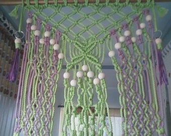 Hand Knotted Beaded Flower-Pop Tapestry Weave  Wall Decor