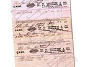 3 Antique Victorian  1800s Billhead Ledger Hartford Pork purveyor vintage collectible ephemera scrapbooking collage mixed media