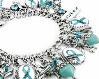 Ovarian Cancer Awareness Charm Bracelet, Ovarian Cancer Jewelry,  Personalized Awareness Jewelry