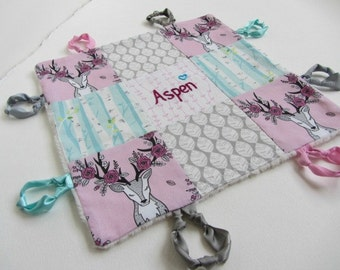 Personalized Baby Girl Lovey with Custom Hand Embroidery Name or Initial ~Choice of Backing Fabric ~Pink Grey Aqua ~ Stag Deer Flowers Aspen