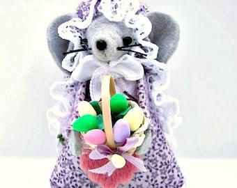 Easter Felt Mouse Egg Basket Mouse  Easter Gift Pastel Mice