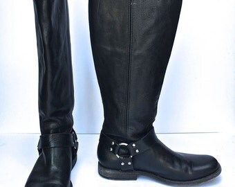 Vintage 90s black leather knee high Frye Motorcycle boots SIZE 8