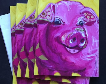 Chubby Pink Pig Notecard Set from Original Painting Collage