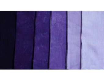 muted PURPLE Shades - hand dyed Fabric - 6 pc Fat Quarter Gradation Bundle - Tuscan Rose MP641