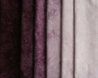 Mulberry - Muted RED VIOLET  Shades - hand dyed Fabric - 6 pc Fat Quarter Gradation Bundle - Tuscan Rose MRV610
