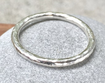 hammered sterling silver men's round wedding band or stacking ring (in your size) with old world beaten texture by kimberlynogueira
