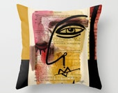 """Funky Face Art, Artsy Pillow, Green, red, black. yellow, Painting I See 38"""" Original abstract painting by Kathy Morton Stanion  EBSQ"""