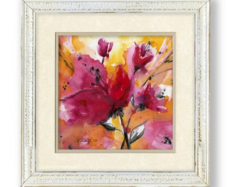 """Framed Poppy Flower Painting, Red, Pink, Abstract Flower, Shabby Chic, Cottage Style, """"Floral Impressions 2 """" by Kathy Morton Stanion EBSQ"""