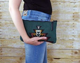 Green Southwestern leather Clutch