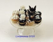 12th scale handmade miniature Chanel Cupcakes