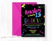 Neon Glow Party Birthday Invitation - Neon Birthday Invite - Get Your Glow On Party - 13th Birthday-  Teen or Tween Birthday -  Printable