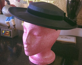 Vintage 1940s Hat navy blue portrait Old Hollywood Swing Rockabilly 1950s 40s 50s