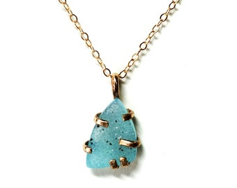 Teal Drusy and 14k Gold Filled Prong Pendant