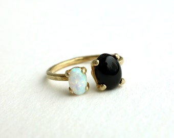 Brass Dual Stone Ring- Opal and Onyx