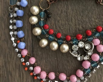 Vintage rosary chain parts and rhinestones multi strand one of a kind repurposed necklace