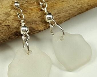 Sterling Silver White Sea Glass Earrings Sea Glass Jewelry E-163