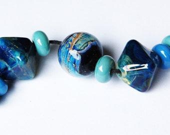 Blue River Set- Handmade Beautiful Glass Beads by Beadfairy Lampwork READY TO SHIP!