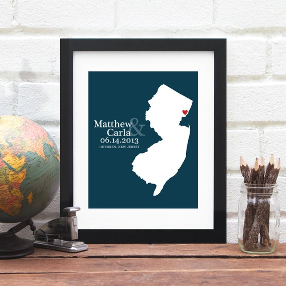 Personalized Wedding Map, Custom 8x10 State Art Print, New Jersey Art, Gay Marriage Gift, Anniversary Map, Engagement Gift, Bridal Shower