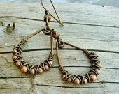 All Copper Wire Wrapped, Hammered and Beaded antiqued dangle hoop earrings