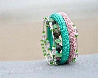 coil crochet bracelet - pale pink and green beaded wrap bracelet - modern crochet jewelry