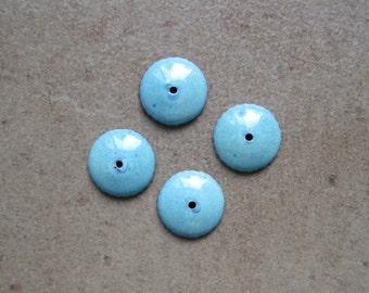 Enamel Bead Caps - Bead Caps - SueBeads - Seafoam Round Bead Caps - Enameled Bead Caps