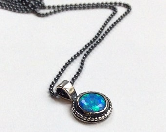 Sterling silver necklace, opal stone necklace, necklace with pendant, blue opal pendant, little pendant, ball chain - Close to me N2007-2
