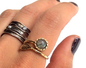 Thin ring, leaf ring, labradorite ring, Golden brass ring, adjustable ring, gemstone ring, stack dainty ring - Gone with the wind RK2062-6