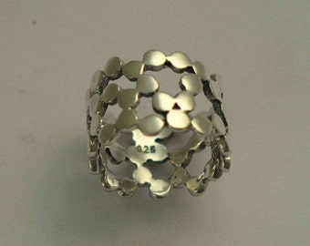 Silver wedding band, dotted band, wide ring, wide silver band, shiny silver ring, dots bands, simple wedding band - Yet to discover R1176